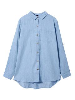 Плюс размер джинсовой ткани с длинным рукавом Женская свободная блуза