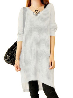 Loose Solid Hollow Out Long Sleeve Jumper Women Mini Dress