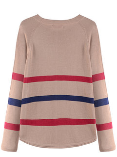 Casual Loose Long Sleeve Stripes Printed Knit Women Sweater