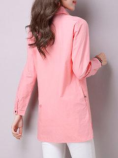 Женщины нагрудные Чистый цвет кнопки с длинным рукавом Side Split Блуза