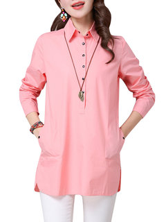 Women Lapel Pure Color Button Long Sleeve Side Split Blouse