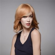 Fluffy Wave Side Bang Human Hair Wig Mono Top Virgin Remy Capless Elegant Wig 7 Colors