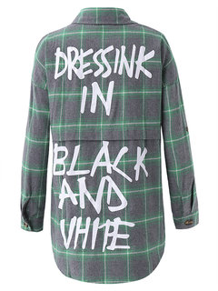 Women Long Sleeve Plaid Letter Printed Casual Blouse