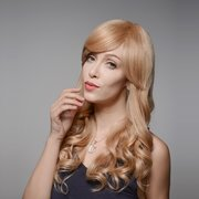 8 Colors Curly Wave Side Bang Human Long  Hair Wig Virgin Remy Mono Top Capless