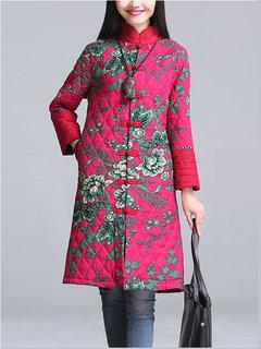 Женщины Урожай Стенд Воротник Цветочные Печатный плиты Пряжки длинный рукав пальто