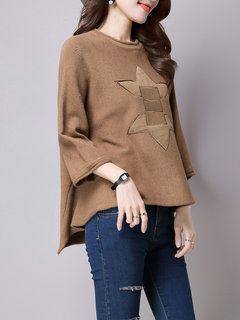Casual Women 3/4 Sleeve Printed Loose Knit Pullover Sweater