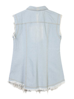 Women Sleeveless Lapel Pocket Ripped Waistcoat Denim Jacket
