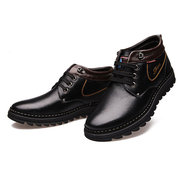 Men Leather Color Match Winter Keep Warm Ankle High Top Lace Up Boots