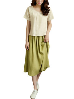 Layer Contrast Vintage Solid Women T-Shirt Skirt