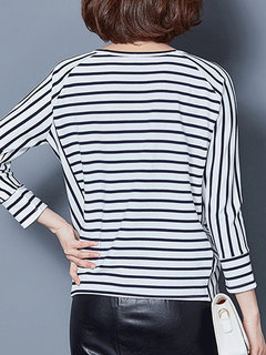 Stripe Long Sleeve O Neck Casual T-shirt For Women
