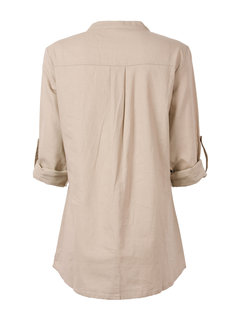 Women Long Sleeve V Neck Button Lace Embroidery Linen Blouse