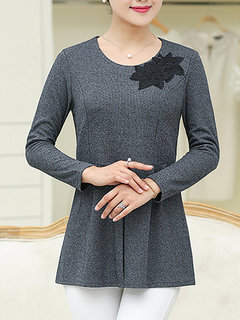 Women Elegant Long Sleeve Embroidery Pure Color Knit Sweater