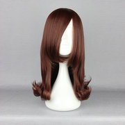 Brown Cosplay Costume Wig Synthetic Hair High-Temperature Resistance Animation Hairstyle Side Bang