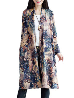 Women Ethnic Floral Printed Long Sleeve Loose Cotton Cardigan