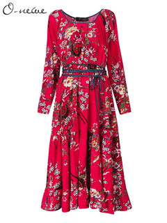 O-Newe Vintage Flower Printed Ruffle A-line Dress With Belt For Women