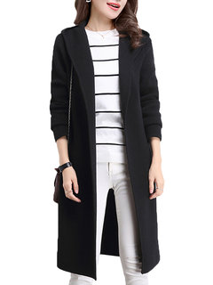 Women Long Sleeve Pure Color Pocket Knit Long Cardigan