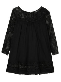 Lace Stitching See Through Blouse 3/4 Sleeve Blouse
