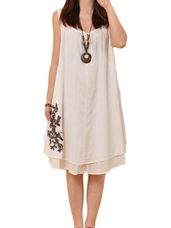 Casual Women Solid Bow Embroidery Sleeveless Linen Mini Dress