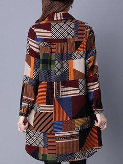 Vintage Women Long Sleeve Lapel Printed Loose Cotton Blouse