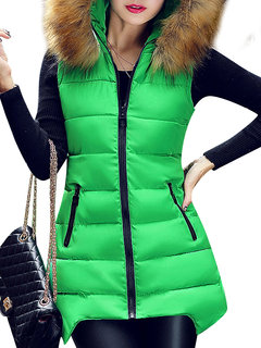 Zipper Slim Thick Casual Fur Collar Sleeveless Hood Long Coat