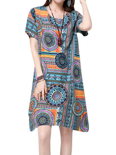 Chinese Style Loose Pattern Printed Pocket Mini Dress For Women