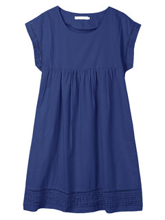 Hollow Splicing Pleated Loose Women Casual   Dress