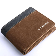 Men Pu And Canvas Horizontal Wallet Casual Coin Holder