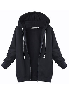 Women Casual Zipper Long Sleeve Hooded Sweatshirt Coat
