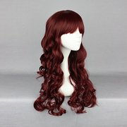 Harajuku 60cm Wine Red Full Bang Wavy Heat Friendly Synthetic Costume Cosplay Wig