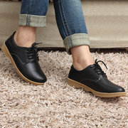 Leather Lace Up Fur Lining Cotton Keep Warm Casual Outdoor Flat Loafers