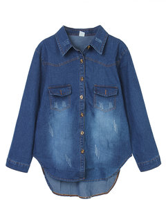 Vintage Women Lapel Button High Low Denim Shirt Jacket