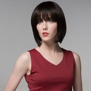 Short Straight Full Bang Capless Wig Fluffy Remy Mono Top Virgin Human Hair Wigs 8 Colors