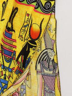 Bohemian Women Short Sleeve High Waist Printed Long Maxi Dress