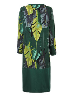 Loose Women Ethnic Style Leaves Printed Patchwork Maxi Dress