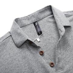 Polo Elastic Turn-down Collar Solid Colour Mens Summer Cotton Short Sleeves T-shirt