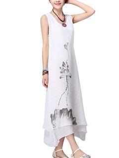 Повседневная Женщины Цветочная Печатный рукавов Свинг белье хлопок платье