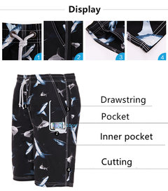 Plus Size Mens Summer Black Sharks Printing Quick Dry Swimming Surfing Beach Shorts