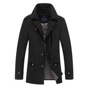 Business Casual Trench Coat Washable Cotton Epaulets Suit Collar Jacket for Men