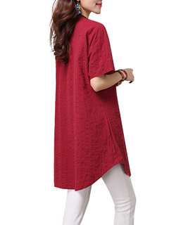 Vintage Women Solid Button Linen V-Neck Long Linen T-Shirt