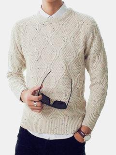 Men's Fall Winter Cotton Blend Solid Spots Decoration Rhombus Grain Sweater