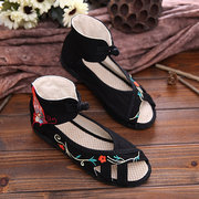 Hollow Out Flower Embroidery Peep Toe Chineseknot Ankle Flat Sandals