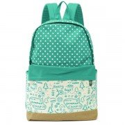 Women Students Wave Point Canvas School Bags Backpack