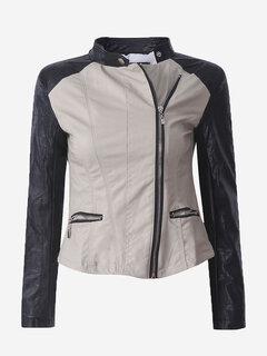 Women PU Leather Stitching Long Sleeve Biker Jacket