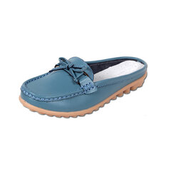 Leather Butterflykont Soft Metal Candy Color Open Heel Slip On Flat Shoes Slippers