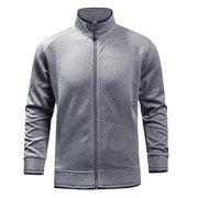 Mens Hoodies Brief Solid Color Stand Collar Jacket Fashion Casual Sport Tops