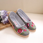 Embroidery Flower Print Canvas National Wind Slip On Flat Shoes