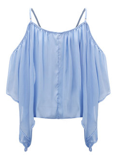 Women Off Shoulder 3/4 Sleeve Pure Color Chiffon Shirts