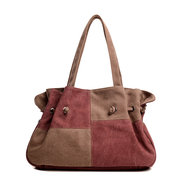 Women Canvas Causal Handbag Joint Contrast Color Shoulder Bags
