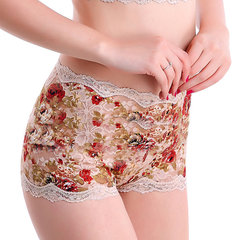 Sexy Seamless Breathable Lace Floral Panties Abdomen Control Boyshorts For Women