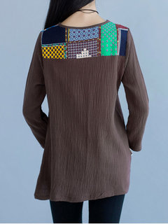 Casual Geometric Patterns Printed Patchwork Pocket Tops For Women